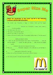 English Worksheets: Super Size Me, introduction comprehension