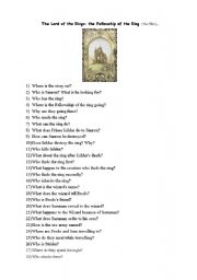 English Worksheet: The LOrd of the RIngs: The Fellowship of the Ring (film)
