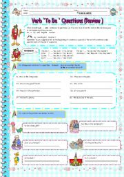 English Worksheets: To Be Questions Review (3/3)