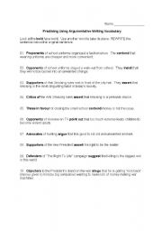 English Worksheets: Practicing Using Argumentative Writing Vocabulary