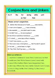 English Worksheet: Conjunctions and Linkers