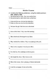 English Worksheets: Relative pronoun who which or that