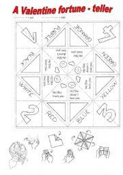 English Worksheet: A Valentine fortune - teller