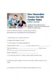 English Worksheet: Gender roles - New generation video activity - close listening (advanced)