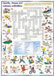 English Worksheet: Sports, games and leisure activities: Crossword (1 of 3)