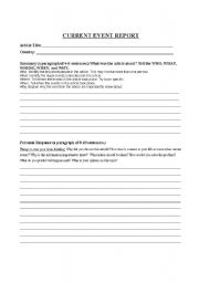 English Worksheets: Current Event Report