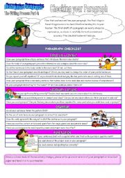 English Worksheets: The Writing Process Part 4: Checking Your Paragraph (2 pages + key)