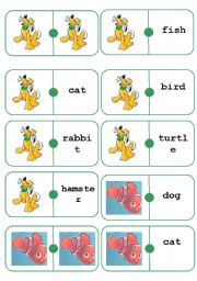 English Worksheets: Pets domino part one