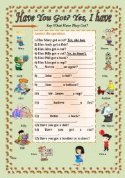 English Worksheet: Have you got a......?Yes, I have