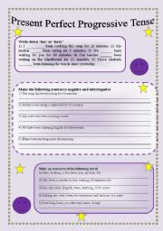 English Worksheet: Present Perfect Progressive Tense! 3 pages