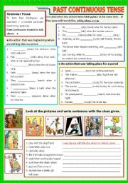 English Worksheets: Past Continuous - B/W - Keys included