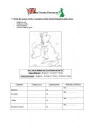 English Worksheet: The United Kingdom: emblems, patrons saints, capital cities
