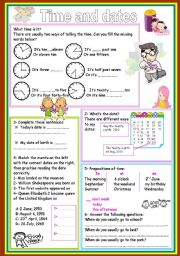 English Worksheet: time and dates
