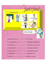 English Worksheets: family and occupations
