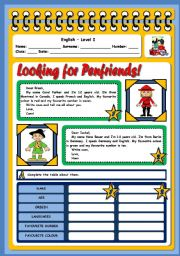English Worksheet: LOOKING FOR PENFRIENDS - READING AND COMPREHENSION - 2 PAGES
