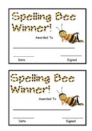 English Worksheet: Spelling Bee Award