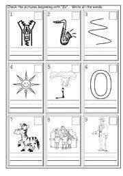 English worksheets: Phonics Zz