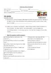 English Worksheets: Rainman- movie task