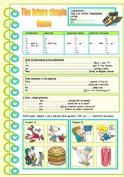 English Worksheet: FUTURE SIMPLE - speaking and reading