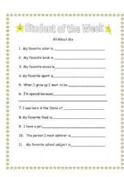 Printables Student Worksheets student of the week all about me