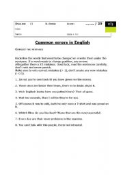 english teaching worksheets errors. Black Bedroom Furniture Sets. Home Design Ideas