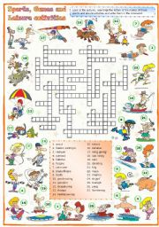 English Worksheet: Sports, games and leisure activities: Crossword (2 of 3)