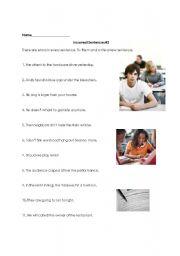 English Worksheets: Incorrect Sentences #2