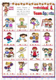 English Worksheet: Sports Set  (2)  - Basic Individual and Team Sports Pictionary