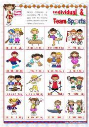 English Worksheet: Sports Set  (2)  - Basic Individual and Team Sports Pictionary
