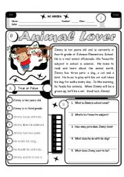 English Worksheets: RC Series Level 2_02 Animal Lover 3 Pages (Fully Editable + Answer Key)