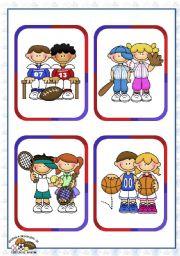 English Worksheet: Sports Set (1)  - Individual and Team Sports Flashcards (16)
