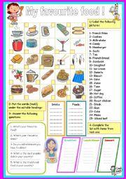 English Worksheet: my favourite food