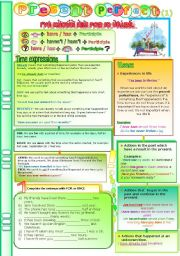 Present Perfect simple, time expressions (yet, already, since, for, ever, never....) Grammar guide + exercises (1) *Editable