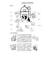 English worksheet: ANIMALS ACTIVITIES