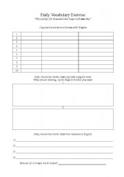 English worksheets: Blank Vocabulary Worksheet