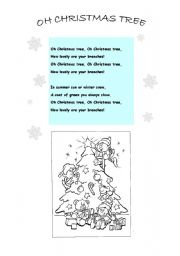 English worksheets: Oh Christmas Tree