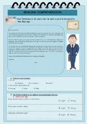 English Worksheets: READING COMPREHENSION - TEST