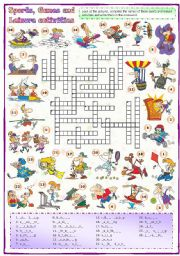 Sports, games and leisure activities: Crossword (3 of 3)