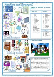 English Worksheet: Furniture and rooms(1)