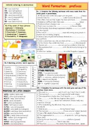 English Worksheet: WORD FORMATION: prefixes