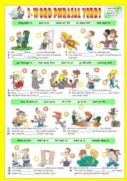 English Worksheets: 3-Word Phrasal Verbs (Sixth series). Exercises (Part 2/3). Key included!!! (The preview looks a bit distorted, but the document is perfectly fine after downloading it)