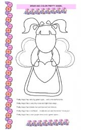 English Worksheet: Pretty Angel