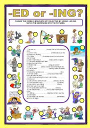English Worksheets: ADJECTIVE ENDINGS - ed/ing