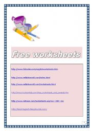English Worksheets: List of FREE WORKSHEET WEBSITES (2 pages)