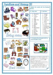 English Worksheet: Furniture and Rooms (2)