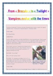 English Worksheet: COMPREHENSIVE LISTENING / reading PROJECT - VAMPIRES (from Dracula to Twilight) - (11 tasks, 13 pages, includes ANSWER KEY & LINK)