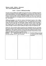 English Worksheets: Lifelong learning
