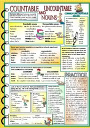 English Worksheet: Countable and uncountable nouns