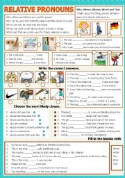 English Worksheet: Relative Pronouns - B/W - Keys