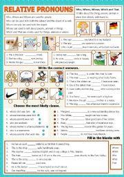 English Worksheet: Relative Pronouns - B/W - Keys